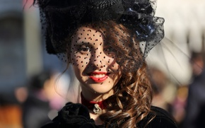 Picture girl, smile, style, costume, carnival, veil