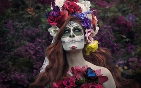 Picture girl, butterfly, flowers, face, paint, day of the dead, day of the dead