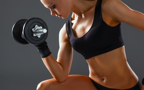 Picture woman, workout, fitness, arms, dumbbell