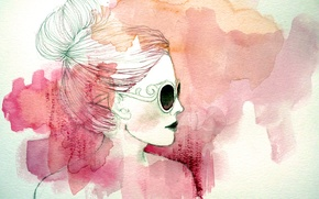 Wallpaper girl, style, paint, figure, art, glasses, profile