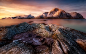 Picture stones, rocks, ice, Frozen Sunrise