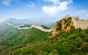Picture The sky, Mountains, Grass, China, Landscape, The Great Wall Of China, Great Wall Beijing