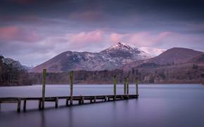 Picture twilight, sunset, mountain, lake, dusk, pier