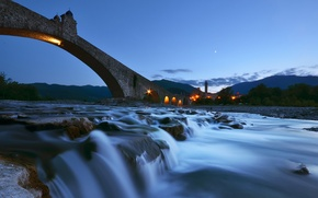 Picture landscape, night, bridge, river, Devil's bridge