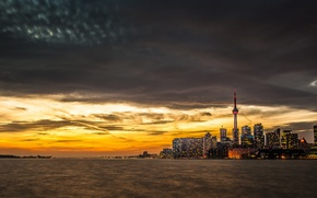 Picture water, sunset, the city, lake, building, tower, Toronto