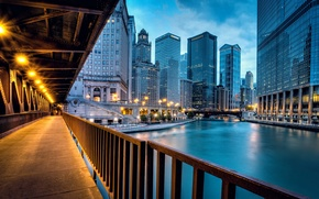 Picture road, light, bridge, the city, river, building, home, skyscrapers, the evening, lighting, Chicago, USA, USA, ...