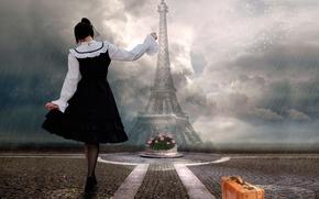 Picture girl, rain, Paris, suitcase, Takis Poseidon