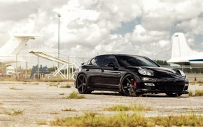 Picture car, Porsche, black, tuning, porsche panamera, rechange