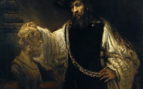 Wallpaper Rembrandt van Rijn, Aristotle with a Bust of Homer, picture, portrait