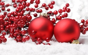 Picture decoration, cherry, balls, new year, Christmas, christmas, new year, balls, cherry, decoration, ornaments