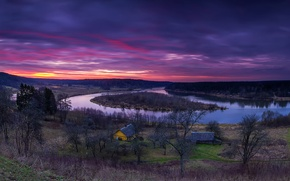 Picture trees, river, the evening, morning, houses, Lithuania