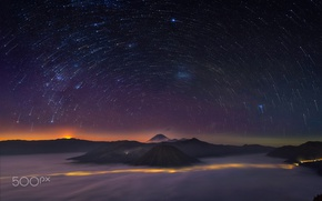 Wallpaper stars, night, the skeleton, Indonesia, Java, volcanic complex-the Caldera TenGer, the volcano Bromo