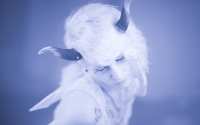 Picture girl, tattoo, horns, Oona Mistbind