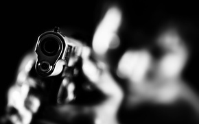 Picture macro, gun, weapons, the barrel, black and white, gun, weapons