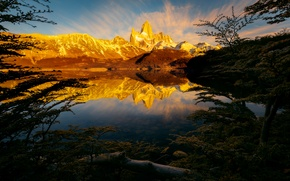 Picture light, reflection, mountains, lake, morning, Argentina, Andes, South America, Patagonia