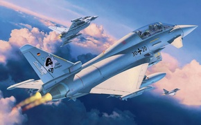Picture fighter, art, airplane, painting, aviation, jet, Eurofighter TYPHOON twin seater