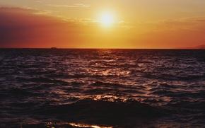 Picture sea, sunset, boat, horizon, orange sky