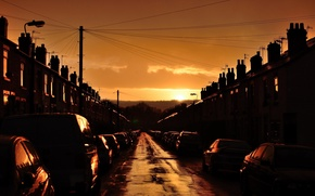 Picture the sun, light, street, home, The city, cars