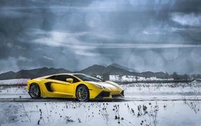 Picture Lamborghini, Clouds, Front, Snow, Yellow, LP700-4, Aventador, Supercars, Mountains, Wheels, ADV.1