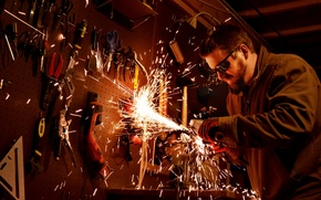 Picture glasses, sparks, instrumento, Man, beard, cutter