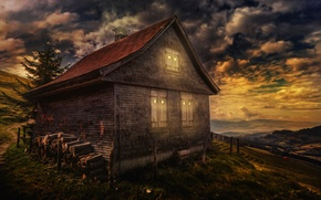 Picture the sky, clouds, house, treatment, Good night
