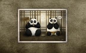 Picture look, the inscription, the trick, Panda, sitting, the conversation, Kung Fu Panda, Kung fu Panda, ...