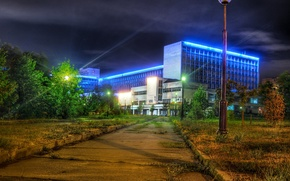 Wallpaper the building, the sidewalk, trees, University, Russia, lights, night, Moscow, Pedagogical State University, lights