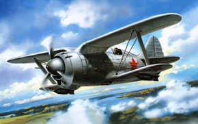 Picture the sky, figure, fighter, art, the rise, Soviet, polytropon, I-190, construction. N. Polikarpov
