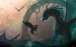 Wallpaper magic, monster, dragons, art, arch, giant, rider, cub