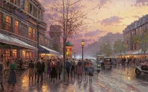 Picture autumn, light, the city, France, Paris, Paris, twilight, painting, Thomas Kinkade, painting, Thomas Kinkade, Boulevard, …