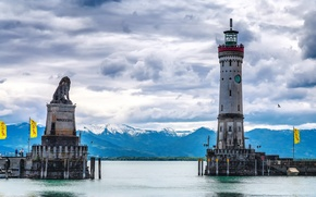 Picture the sky, clouds, mountains, lighthouse, Germany, Bayern, Baden lake, Lindau
