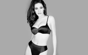 Picture Kelly Brook, Lingerie, Brunette, Black and White