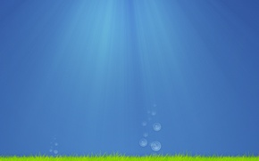 Picture sea, grass, water, drops, rays, light, algae, bubbles, creative, mood, the ocean, drop, minimalism, art, ...
