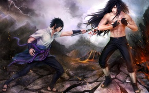 Picture the battle, naruto, art, sasuke uchiha, zetsuai89, power uchiha