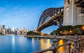 Picture Home, The evening, Bridge, The city, River, Australia, Lights, Sydney