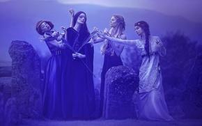 Picture fantasy, art, Agnieszka Lorek, four girls, Breath of immortality