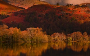 Picture autumn, trees, mountains, clouds, lake, reflection