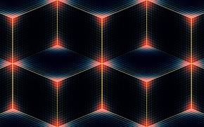 Picture line, corners, color, cube, cube, twilight, square, rhombus
