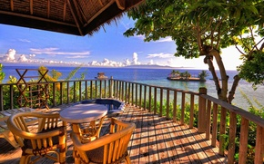 Picture sea, the sky, clouds, trees, mountains, table, stay, island, chairs, Bungalow, veranda