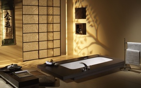 Picture style, Wallpaper, interior, minimalism, bathroom, Japanese