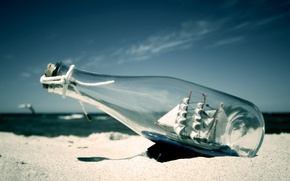 Picture Sand, Bottle, Sailboat