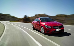 Picture Mercedes-Benz, Red, Auto, Road, Car, The front, Class, CLA