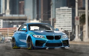 Picture design, the city, background, figure, bmw, skyscrapers, BMW, tuning, paint, los angeles, phothoshop, by DiMANLY, …