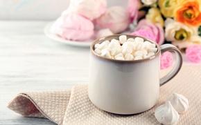 Wallpaper chocolate, hot, cup, chocolate, cocoa, cocoa, marshmallows, marshmallow