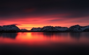 Picture the sky, clouds, snow, mountains, lake, glow