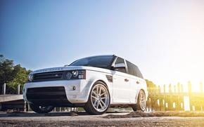 Picture white, the sky, the sun, shore, sport, pier, white, Land Rover, Range Rover, Sport, range …