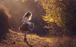 Picture dress, girl, sunlight, Light shower