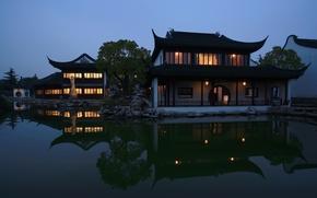 Picture China, home, Jingsi Garden, night, river