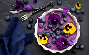 Wallpaper flowers, berries, blueberries, Pansy, dessert, napkin, fork, Panna cotta, blueberry Panna cotta