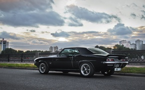 Picture the sky, clouds, street, black, building, the evening, Chevrolet, Camaro, drives, tail light, 396